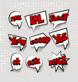 set cartoon comic text white cloud vector image