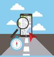 smartphone maginifer compass navigation road vector image