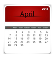 2013 calendar April vector image vector image