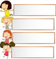 Banner design with four kids vector image vector image