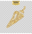 Gold glitter icon of pepper isolated on vector image