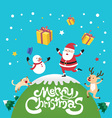 Merry Christmas with Santa Claus and snowman vector image