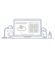 Laptop wireframe style vector image