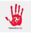 Handprint with the Flag Isle of Man in grunge vector image