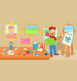 artist horizontal banner workshop cartoon style vector image