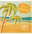 Cute summer poster - beach with palms and ocean vector image