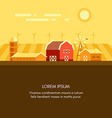 Farm barn grain field windmills and sunrise vector image