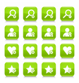Green additional sign square icon web button vector image