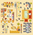 office work place layout flat plan details vector image