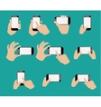 Set of hand holding smart phone vector image