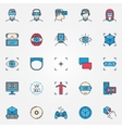Virtual reality colorful icons vector image