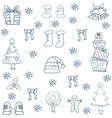 Flat hand draw christmas object in doodle vector image