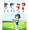 Kids playing baseball in the field vector image