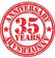 Grunge 35 years anniversary rubber stamp vector image vector image