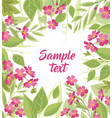 background of pink flowers and leaves vector image