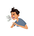 coughing man sick person with cold flu and virus vector image