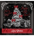 retro card with christmas tree 1 vector image vector image