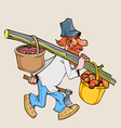 cartoon rustic lumberjack with an ax goes vector image