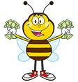 Bumble Bee Cartoon with Cash vector image