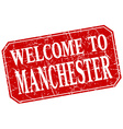 welcome to Manchester red square grunge stamp vector image