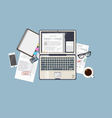 Laptop working finance vector image
