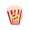 popcorn in striped bucket cartoon vector image