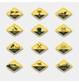 set of signs of attention caution and danger vector image