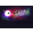 Flying Santa over Aurora Borealis vector image