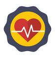 sticker heartbeat cardio vital sign vector image