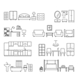 Home related icons Furniture for different rooms vector image vector image