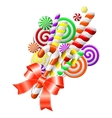 lollipops with red ribbon vector image