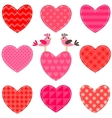 Set of red and pink hearts and birds vector image vector image