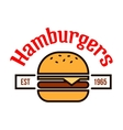 Fast food hamburgers icon with linear cheeseburger vector image