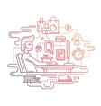 Delivery service and support - line design vector image