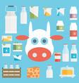 flat milk icon set vector image