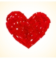 Red flat brush painted heart vector image