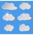 Stylized white clouds in the blue sky the sun vector image
