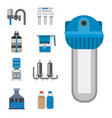 water purification icon faucet fresh recycle pump vector image