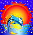 Dolphin Sunset Background vector image