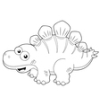 Cartoon dinosaur outline vector image vector image