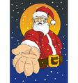 Christmas series Happy Santa giving hand vector image