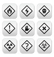Danger risk warning buttons set vector image vector image