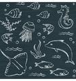 Sealife chalkboard seamless pattern vector image