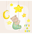 Baby Bear with Moon and Stars vector image