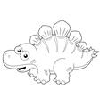 Cartoon dinosaur outline vector image