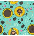 Coffee outline seamless pattern vector image