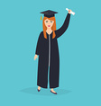 Graduate girl in the mantle keeps in hands vector image