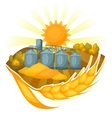 Granary on wheat field Agricultural vector image
