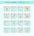 Line Flat Icons Statistic Elements Set 01 vector image