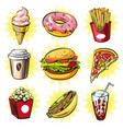 pop art set of trendy fast food patches vector image
